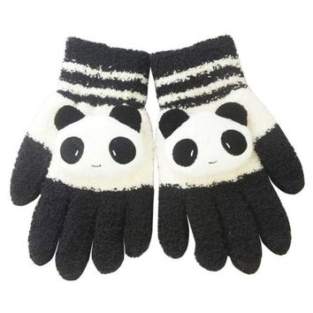 Lovely Panda Winter Gloves Screen Hand Warm Gloves Striped Outwear Gloves Eldiven Guantes Mujer#B921