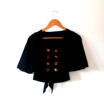 Embroidered / black / rose / vintage / 70s /  sheer / wing sleeve / buttton / tie / top / cardigan / shrug / bolero