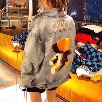 gucci women casual fashion bear letter embroidery cardigan long sleeve denim jacket coat