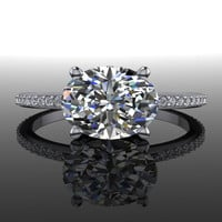 Forever Brilliant Moissanite and Diamond East West Oval Engagement Ring 1.63 CTW