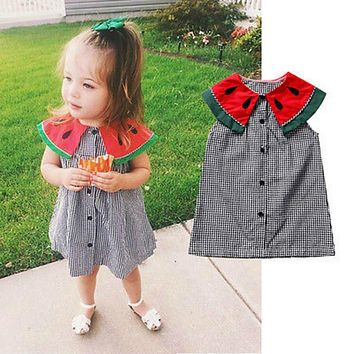 Newborn Infant Kids Baby Girls Summer Cotton Watermelon Print Plaid Collar Mini Dress Princess Party Wedding Dresses Sundress