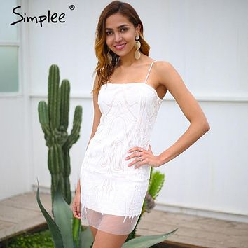 Simplee Strap mesh white lace dress women Sexy slim party bodycon dress female 2018 Club floral short summer dress vestidos