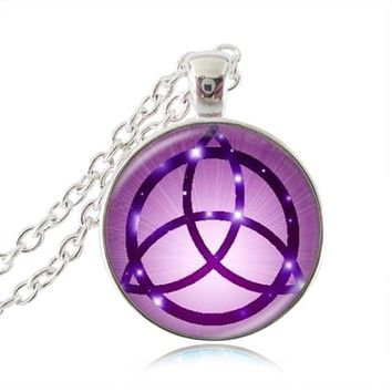 Drop Shipping glass dome purple Pentagram Pendant silver plated Wicca Necklace charms Wiccan Jewelry supernatural accessories