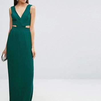 ASOS TALL Pleated Maxi Dress with Cut Out Side at asos.com