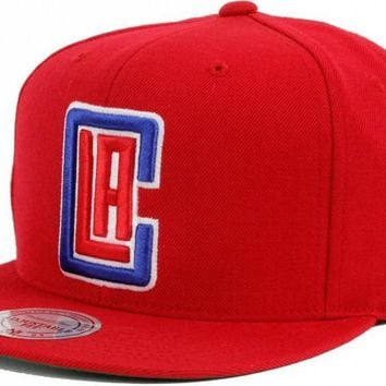 NBA Mitchell & Ness LA Clippers Snapback Cap in Red