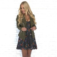 Maddox Faux Leather Jacket in Olive