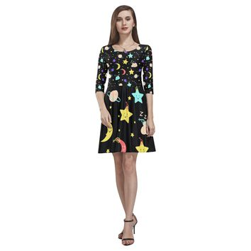Clouds Moon Stars Half-Sleeve Skater Dress