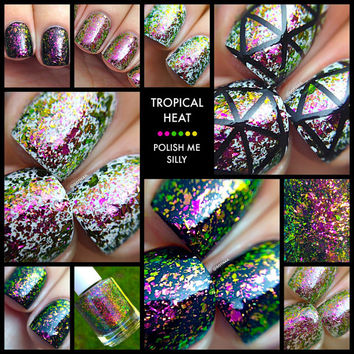 FLAKIE Tropical Heat Topcoat (larger flakes)Multi-Color Shifting Polish:Custom-Blended Glitter Nail Polish/Indie Lacquer/Polish Me Silly