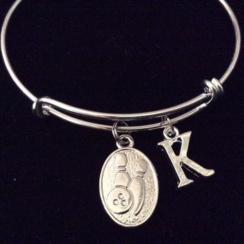 Silver Bowling Ball and Pins Initial Charm Silver Expandable Bracelet Adjustable Bangle Team Gift