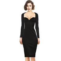 New long Sleeve Winter dress Celeb y Square Neck Women Rockabilly black Bodycon work business Wiggle Pencil Party Dress Alternative Measures - Brides & Bridesmaids - Wedding, Bridal, Prom, Formal Gown