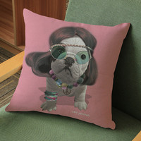 Hippie Frenchie Throw Pillow