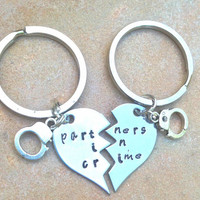 partners in crime, hand cuffs, broken heart, partners in crime keychain, partners in crime necklace, gifts for men and women, couples gift
