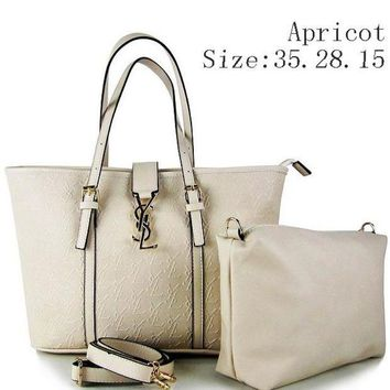 DCCKR2 YSL tide brand fine women s two-piece stylish leather handbag F-MYJSY-BB Apricot