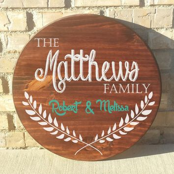 "Family Names Custom Made 18"" Round Wood Name Sign"