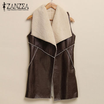 Winter Women Fashion Leisure Warm Faux Fur Collar Long Leather Waistcoat Coat Vest Outerwear Casual Jacket Plus Size