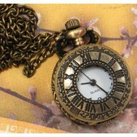 """Vintage Style Covered Pocket Watch With Window Pendant Clock With 15 Chain In Antique Gold Finish"""""""