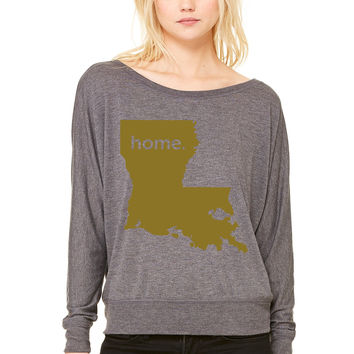 louisiana home WOMEN'S FLOWY LONG SLEEVE OFF SHOULDER TEE