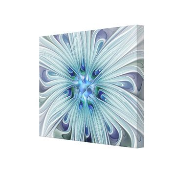 Floral Beauty Abstract Modern Blue Pastel Flower Canvas Print