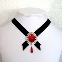 Black velvet gothic choker with red cabochon and red by Arthlin
