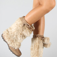 Soda Sku-S Fur Pom Pom Mid Calf Boot