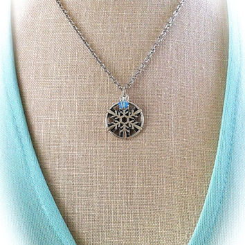 Claire's Snowflake Pendant, Glacier Blue Crystal, Winter Wedding, Celtic, Outlander Inspired, Bridesmaid Gift, Bohemian Bridal Jewelry