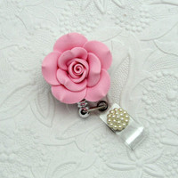 Vintage - Pink - Clay - Rose - Retractable - Badge - Reel - Flower Badge Clips - Rose ID Holders - Designer Badge Reel - Pretty Badge Clips