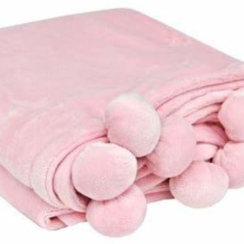 "Unisex 50"" x 60"" Pompom Throw Blanket in Pink"