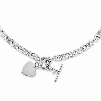 Simple Heart Necklace in Stainless Steel - Toggle Round Link