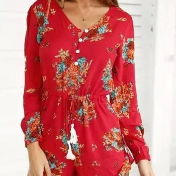 Red Long Sleeve Romper