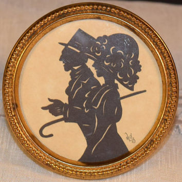 Victorian Man and Lady Silhouette Picture Frame Vintage Art Deco Victorian Era Couple Mini Silhouette Picture Vanity Dresser Stand Up Pic