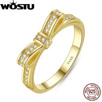 Hot Sale Real 925 Sterling Silver Gold Color Sparkling Bow Engagement Ring For Women Original Fine Jewelry XCH7129