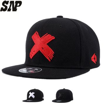 SNP New High Quality Men and Women Snapback cap X embroidery flat brim baseball cap youth hip hop cap and hat for boys and girls