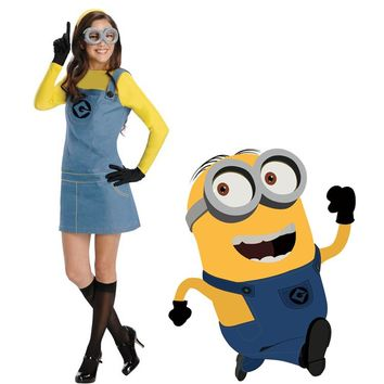 MOONIGHT Cute Yellow Minions Costume Blue Overall Suspender Skirt Lovely Minions Girl Fancy Dress Halloween Costumes for Women