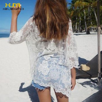 DKLW8 New Summer Beach Cover Up White Lace Swimsuit Bikini Cover Up Swimwear Sexy Beach Dress Crochet Beach Wear TS046