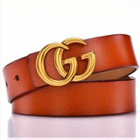 GUCCI New Fashion Women Simple Joker Vintage Belt Orange
