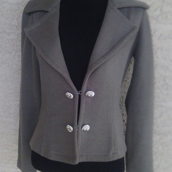 worthington blazer / sweater  small cotton dark olive green two button front gold buttons feminine cut classic
