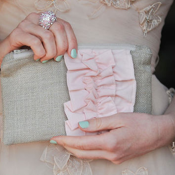 Blush Pink Burlap Ruffle Zipper Clutch - Bridesmaid Gift - Pastel Pink Wedding Bag