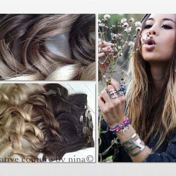 "Ombre Hair Extensions//DipDye//Dark Brown Hair and Wheat Blonde Fade//(7) Pieces//22""//Double Wefted/Custom Your Fade"