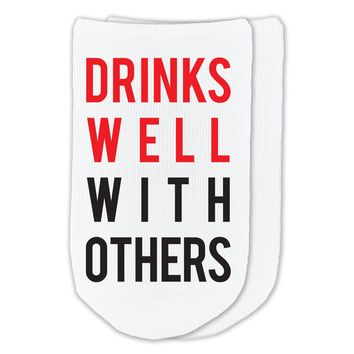 Drinks Well With Others - Humorous Boozy Socks - Custom Printed Socks Sold by the Pair