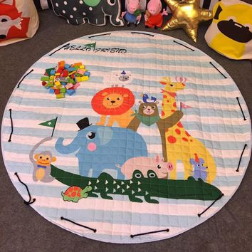 Cartoon Round Infant Crawling Mat Children Toys Storage Bag Baby Kids Floor Play Mat Drawstring Toy Storage Organizer