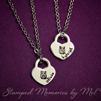 Baby Owl Set - Hand Stamped Stainless Steel Heart Lock  Necklace Personalized w/ Name - Best Friends, Sisters, Cousins Jewelry - Custom
