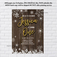 Snowflakes invitation, Rustic winter party invitation, Winter Snowflakes, birthday invitation for any age, 1st birthday, 2nd, 3rd- card 1194
