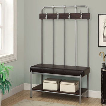 "Silver metal 60""h hall entry bench"