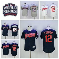 Cleveland Indians 12 Francisco Lindor Jersey 2016 World Series Postseason Lindor Baseball Jerseys Flexbase Blue Pullover White Grey Green-1