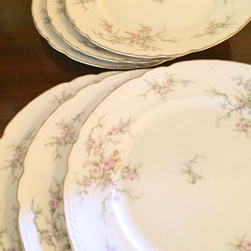 Vogue China Dinner Plates, Set of 6, Susanna Pattern, Floral Pattern, Scalloped Trim Gold Trim, Shabby Cottage Dinner Plates, Garden Party