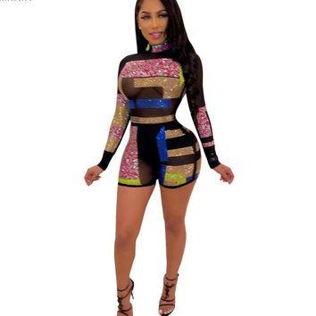 Women Sexy Long Sleeve Mesh Printed Jumpsuit Romper