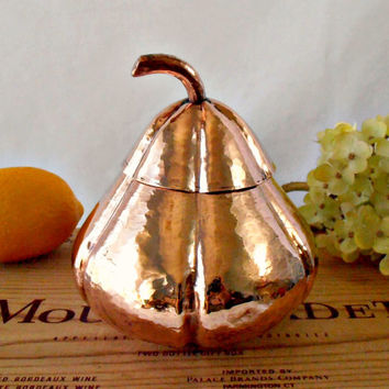 Vintage Copper Hand Hammered Art Bowl with Lid, Aesthetic Movement Inspired Master Craft Decorative Art Copper Container, Copper Pumpkin