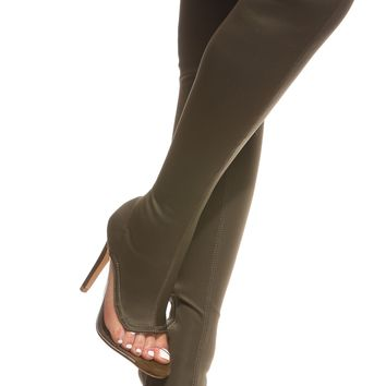 Olive Vinyl Contrast Peep Toe Boots @ Cicihot Boots Catalog:women's winter boots,leather thigh high boots,black platform knee high boots,over the knee boots,Go Go boots,cowgirl boots,gladiator boots,womens dress boots,skirt boots.