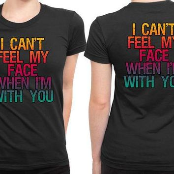 DCCK7H3 The Weeknd Can Not Feel My Face 2 Sided Womens T Shirt