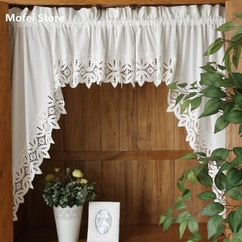 Roman Curtain Fashion Crochet White Retro Big Hem Christmas curtain Triangular Curtain for Kitchen Cabinet Door tt-0072